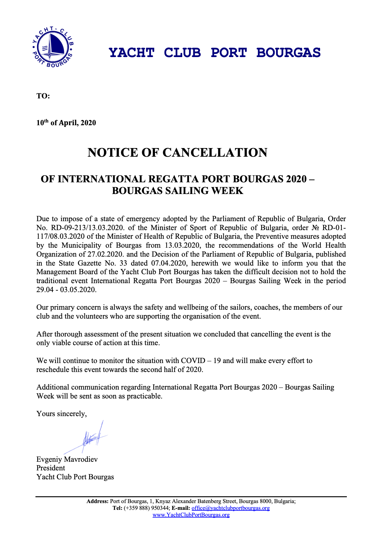 Notice of cancellation eng
